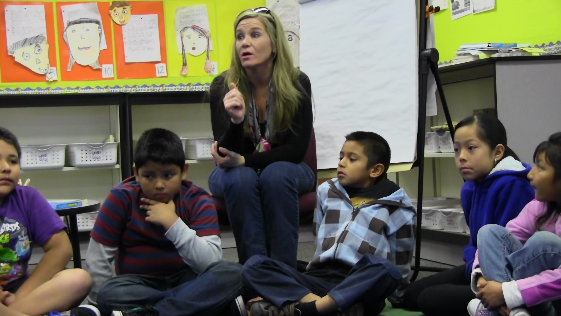 Wendy Lindman-Fechner guides her third-graders in a discussion of personal goals during their morning meeting.